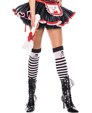 Black/White Striped Opaque Thigh High Stockings with Cross Bone Music Legs 4795