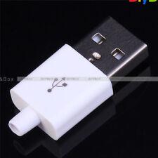 10PCS Male USB Connector Kit 5P USB 2.0 Plug Type-A DIY Components White