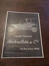 Publicité ancienne 1912 Belvalette torpédo Pub 14 x 18.5 advert ancètre old car