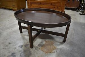 Vintage Walnut Oval Butterfly Coffee Table with Serving Tray Top, Folding Base