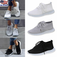 Women Breathable Trainers Sneakers Ladies Mesh Comfy Lace Up Sport Running Shoes