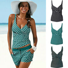 Womens Polka Dots Tankini Set Padded Swimwear Swimsuit Beachwear Bathing Suit
