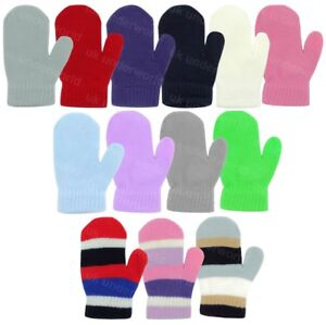 Childrens Boys Girls Plain Stripe Mittens Kids Baby Toddler Gloves Winter Warm
