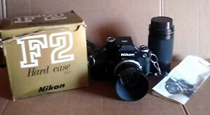 Nikon F2 SLR 35mm Film Camera with 2 Lens, Case and Accessories