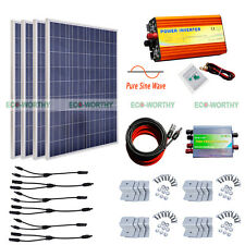 1KW Pure Sine Wave Inverter W/ 400W 4*100W Solar Panel Kit for Home Appliances