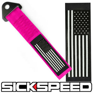 PINK AMERICAN FLAG HIGH STRENGTH RACING TOW STRAP FRONT REAR TOW HOOK STARS