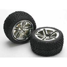 "Traxxas 5573 Chrome Twin Spoke 2.8"" Wheels/Victory Tires (2) Rear: Nitro Rustler"