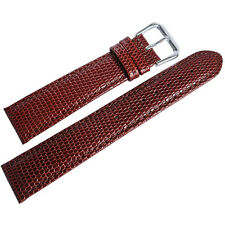 17mm deBeer Mens Havana Brown Lizard-Grain Leather Watch Band Strap