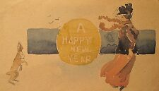 ANTIQUE AMERICAN OLD IMPRESSIONIST MINIATURE WATERCOLOR PAINTING NEW YEARS LADY