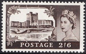 GB 1968 2/6d Black-Brown Castles High Value SG595k Chalky Paper Unmounted Mint