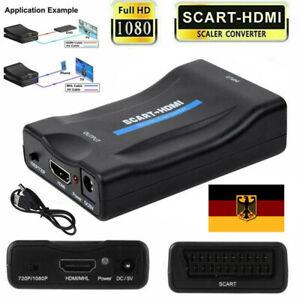 Scart zu auf HDMI Konverter Wandler AV Scaler Converter Adapter 1080P HD TV