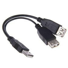 USB 2.0 A Male to 2 Dual Female Jack Y Splitter Hub Power Cord Adapter Cable Hot