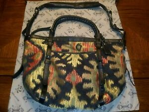 Isabella Fiore Large Multi-color Southwestern Aztec Purse Tote Crossbody Bag