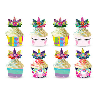 Unicorn Cupcake Topper Cases Muffin Wrapper Cake Decoration Party Supplies 24PCS