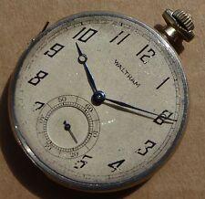 Un buon grado acciaio Waltham Orologio da taschino movimento in caso parziale & Mantenere Tempo.