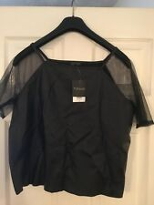 TOPSHOP Black Leather Look top size 10