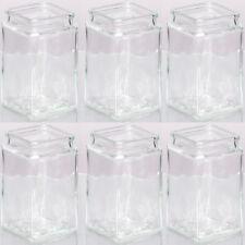 6 Stück Dekogläser Teelichtglas Windlicht H 14,5 cm eckige Form Vasen