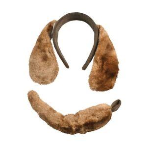 Brown Dog Ears Headband & Tail Set Fancy Dress Plush Puppy Dog Headband Animal