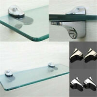 Sale 2pcs Glass Shelf Support Clamp Brackets Clip Polished Chrome Shelves V1
