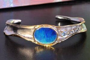 Gorgeous Royal Blue Opal Bangle bracelet cuff Sterling 18k gold NWT $1,133 Topaz