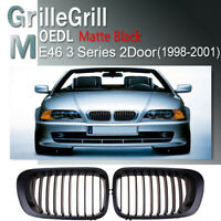 Matte Black Front Kidney Grill Grille for BMW E46 2 Door Coupe 1998-2001