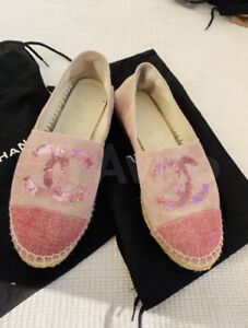 Chanel espadrilles ballerina shoes leather size 36