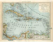 1901 ANTILLES CUBA JAMAICA PUERTO RICO BAHAMAS HAITI DOMINICAN REPUBLIC Map date