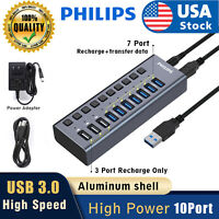 Philips 10 USB 3.0 HUB 48w 10 Ports Powered High Speed Splitter Extender Cable