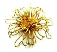 """Vintage Napier BroochTwisted Wire Gold Tone Flower Center Large 3 5/8"""" 1960s"""