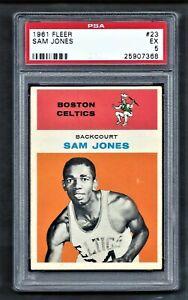 1961 Fleer #23 SAM JONES Boston CELTICS PSA 5 EX
