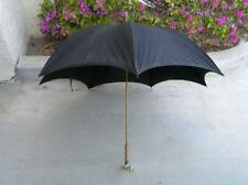 Antique Victorian black mourning parasol umbrella Burl wood carved handle Whale