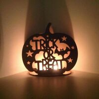 'Trick or Treat' Pumpkin Tealight Holder. Wooden MDF Halloween Decoration - H74