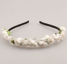 Boho White Flower Headband Crown Wedding Garland Floral Hair band Accessories