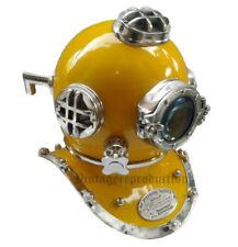 "U.S Navy Mark V Boston 18"" Deep Sea Divers Diving Helmet Chrome Yellow Finish"
