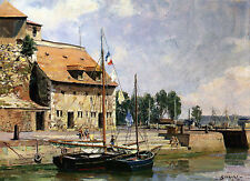 John Stobart Print - Honfleur: The Lieutenance from the Inner Harbor