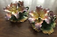Capodimonte Large Pair Candlestick Holders Lillies Pink Gold Yellow Stunning