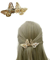 Gorgeous Butterfly Barrette Hair French Spring Clip in Gold Tone