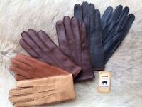 Women's Winter Peccary Leather Gloves size 6.5 7 7.5 8 Black Brown Cognac Tan
