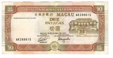 MACAU Banco Nacional Ultramarino 10 Patacas VF+ Banknote (1991) P-65 AK Prefix