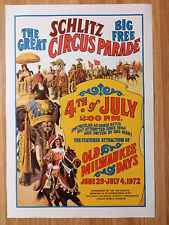 Schlitz Beer Poster The Great Schlitz Circus Parade 4th of July 1972 Milwaukee