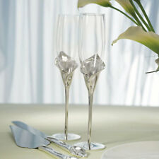 Calla Lily Wedding Toasting Flutes with Silver Plated Stem Weddingstar