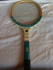 Vintage Spalding Doris Hart Monogram Wood Tennis Racket Leather Grip wood case