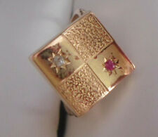 14KT DECO PINKIE RING WITH DIAMOND & RUBY SIZE 5.5