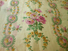 Antique French Roses Floral Garland Cotton Fabric ~ Pink Yellow Green Tea Tone