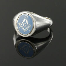 More details for masonic ring swivel head solid silver square and compass  - light blue with g