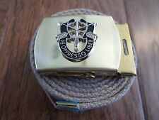 U.S MILITARY STYLE KHAKI WEB BELT WITH SPECIAL FORCES BRASS BUCKLE U.S.A MADE