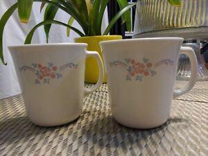 Corning USA Pink, light blue flowers, cream Ceramic coffee/tea cups 10oz (2pcs)