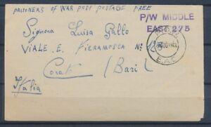 1943 Lettre en FM Prisonnier Italien Obl POW EAC Afrique Orientale RARE P2971
