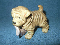 "HJ&G PUPPY PALS SHAR PEI PUPPY DOG W/ BLANKET 3 1/2"" BISQUE PORCELAIN FIGURINE"