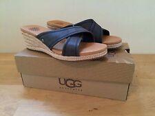 Brand New Women's Size 7 UGG Australia GWYN Wedge Sandal Black NIB